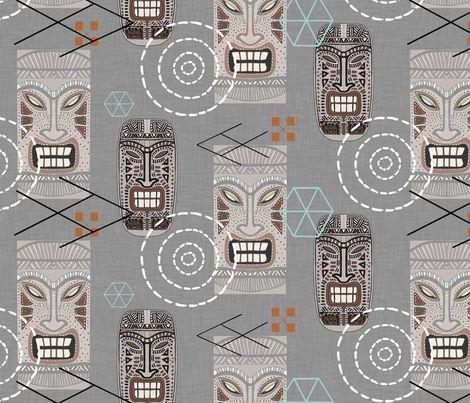 Tiki Town Retro (Gray Version) fabric by mariden on Spoonflower - custom fabric