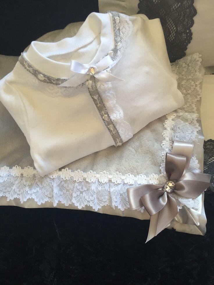 White and grey Swarovski baby grow and valour blanket