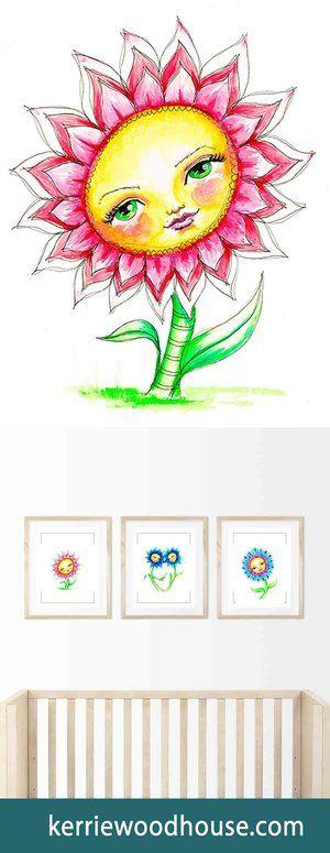 whimsical art print | kids decor | nursery art | pink print | cute print | girls room | flower | floral print