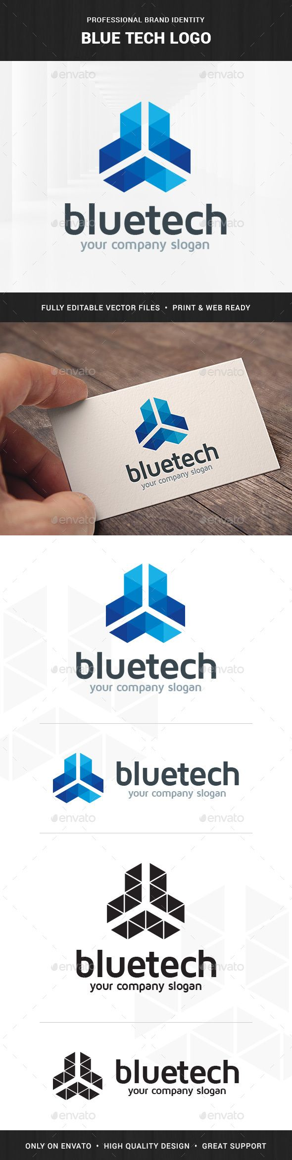 Blue Tech Logo Template — Photoshop PSD #company #simple • Available here → https://graphicriver.net/item/blue-tech-logo-template-/9198901?ref=pxcr