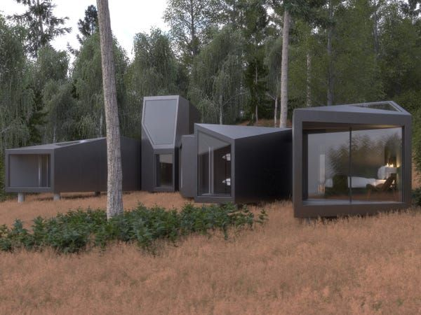 This Home Made Out Of Tiny Units Can Be Built In Any Configuration And Proves Prefab Architecture Doesn T Have To Be Boring Take A Look Prefab Homes Prefab Prefabricated Houses