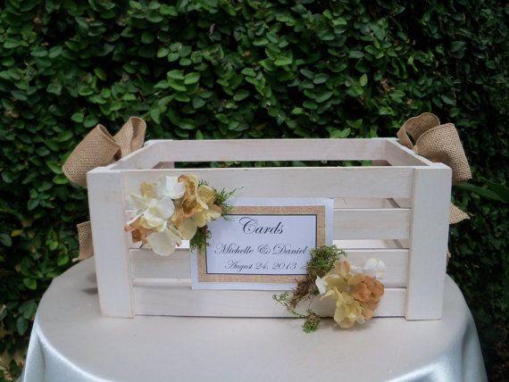 Wedding Card Box /   Wooden Slat  card Box / Rustic Wedding Card Holder Box  Crate