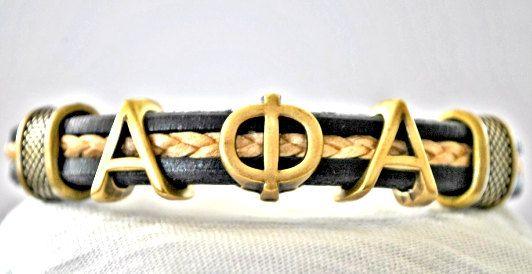 Fraternity Leather Bracelet Alpha Phi Alpha by AdornmentsBySaundra