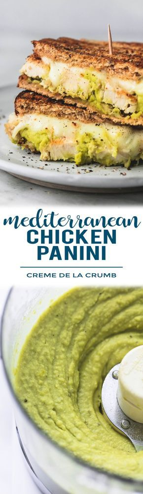 Easy, healthy Mediterranean chicken Panini with lemon and garlic split pea hummus, grilled chicken, and melty provolone cheese on whole grain bread. | lecremedelacrumb.com