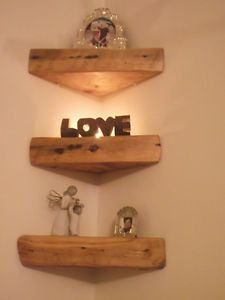 3 X RECLAIMED, CHUNKY, UNIQUE FLOATING SOLID WOOD CORNER SHELVES | eBay