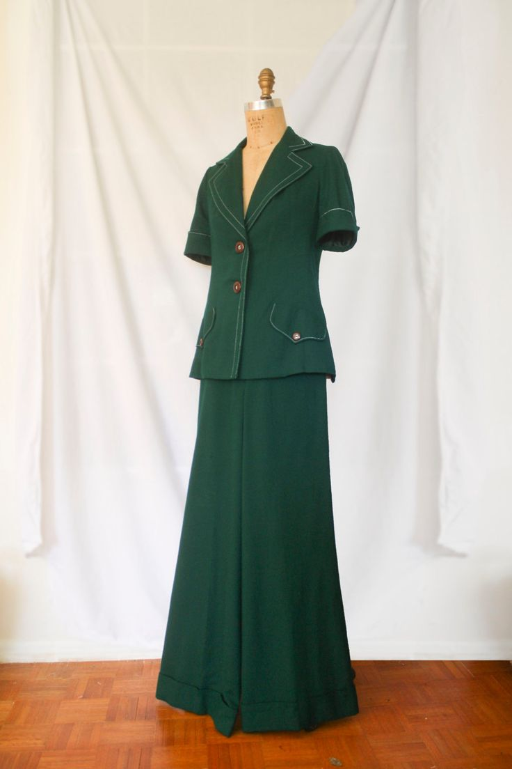 ArtBro Forest Green Pants Suit by KleinDesignVintage on Etsy