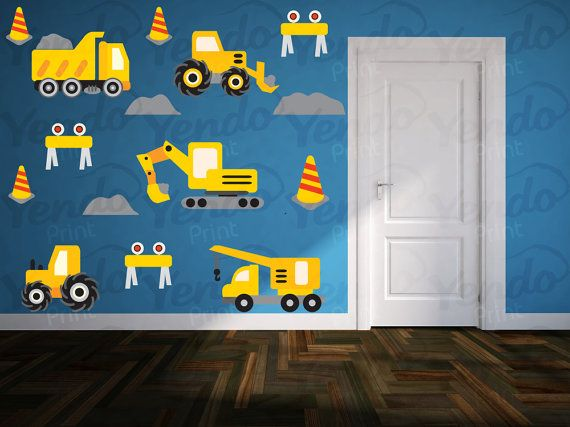 Kids Truck Wall Decals SET Construction Wall Decals By YendoPrint, $35.00.  Boys Truck RoomBoy ... Part 58