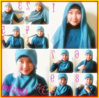 Tutorial Hijab Segi Empat Untuk Wajah Bulat Dengan Pashmina - arenawanita.com