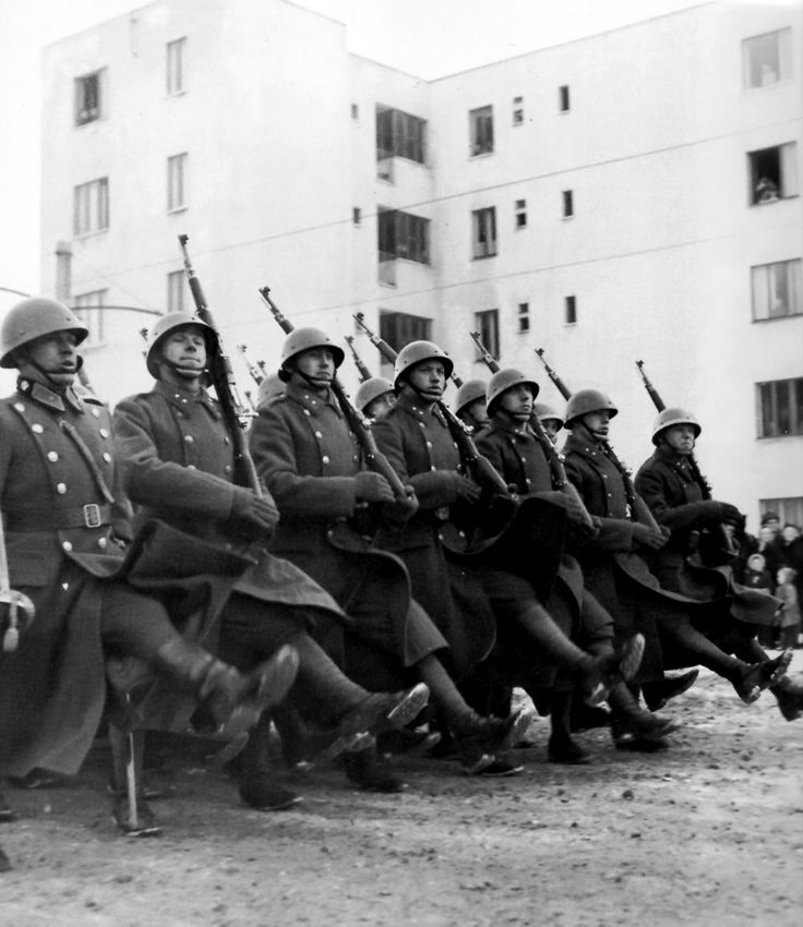 Slovak Soldiers parading in Bratislava. Slovakia was declared independent shortly before the beginning of WW2 and joined Germany in the invasion of Poland and the USSR. In 1944, a Slovak nationalist uprising led to a German invasion. Eventually, Slovakia rejoined the Czechs to form eastern bloc Czechoslovakia.