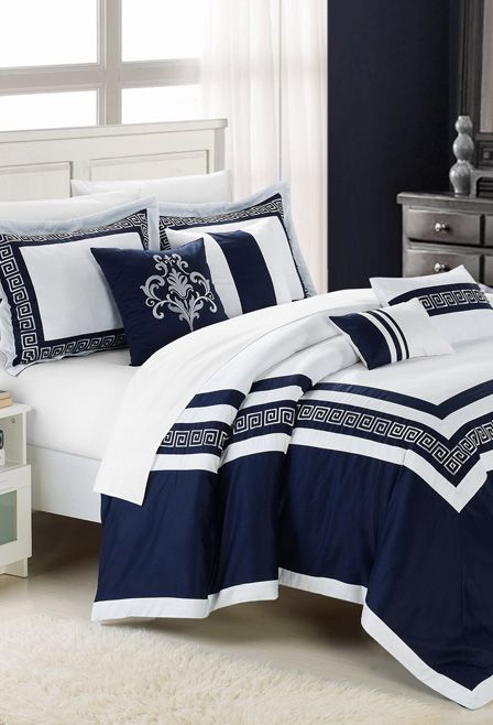 Blue Venice Embroidered Comforter Set