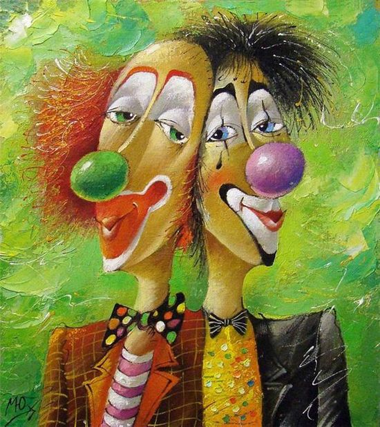 The symbol of the circus - clowns - paintings by Yuri Matsik - ego-alterego.com