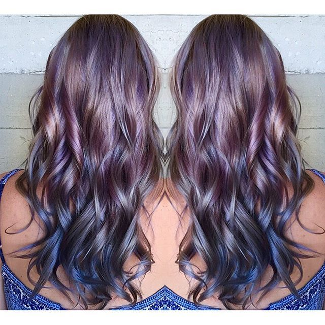 Beautiful metallic hair color and messy hair style by Caroline Guiney Purple hair color www.hotonbeauty.com