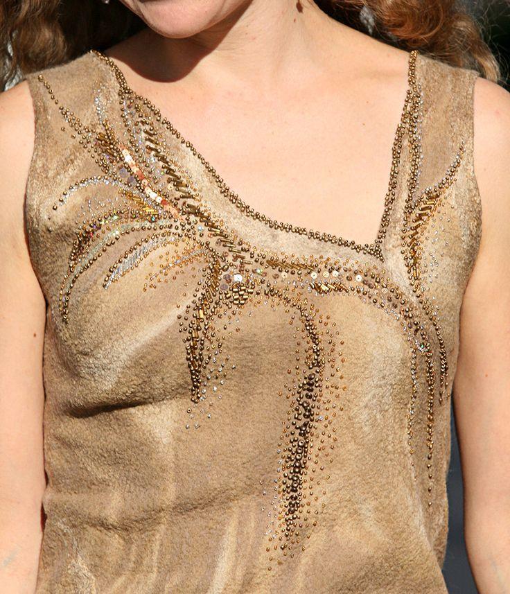 Felted brown beige gold fancy silk sleeveless woman evening