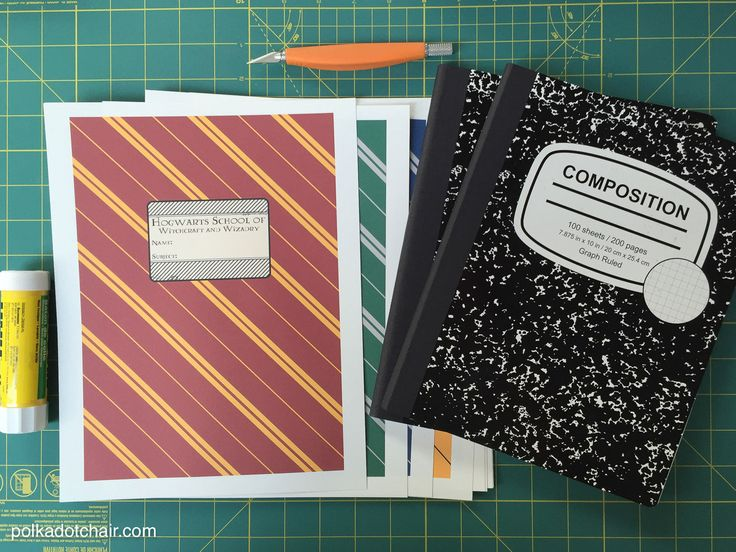 How to DIY Hogwarts house notebooks; a gift idea for a Harry Potter Fan- fun Harry Potter Craft Idea. Includes Gryffindor, Slytherin, Hufflepuff & Ravenclaw