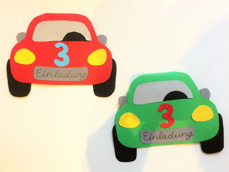 Einladungskarten aus Papier Pappe Tonkarton Tonpapier gebastelt aus einer Applikationsvorlage Auto Einladung Geburtstag Junge