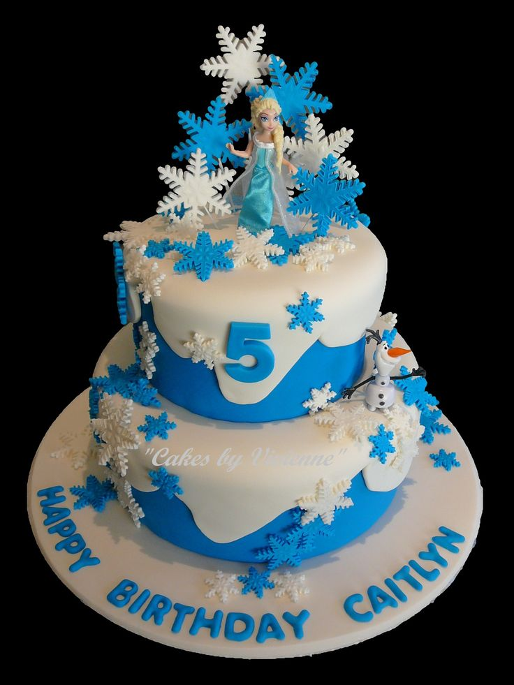 Frozen themed birthday cake for a 5 year old featuring