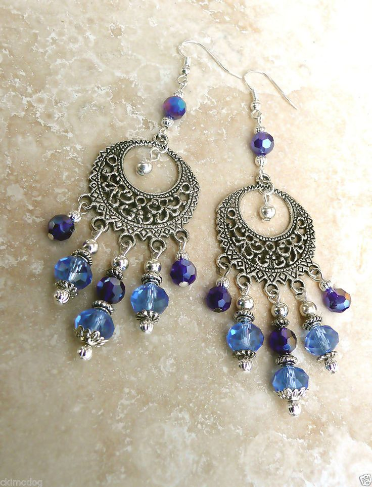 Genuine Sapphire AB Crystal Antique & Sterling Silver Dangle Gypsy Earrings