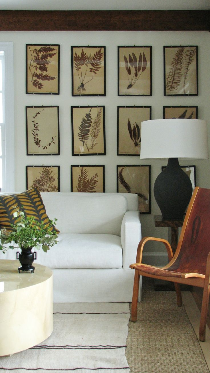 botanical gallery wall |  pressed foliage