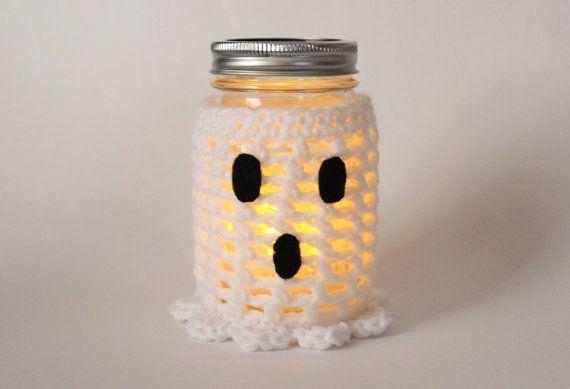 Ghost Mason Jar Candle, Flameless Candle, Halloween Decor, Crochet Fall Jar Decoration