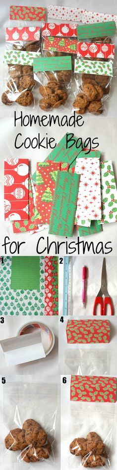 DIY Christmas Cookie Bags as gifts. Step By Step Tutorial on how easy it is to make these bags!