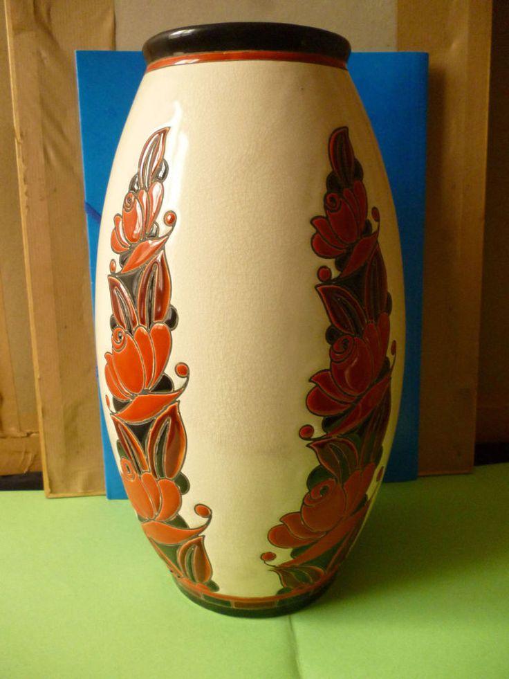 Vase art déco Boch Frères La Louvière Made in Belgium .(Catteau)