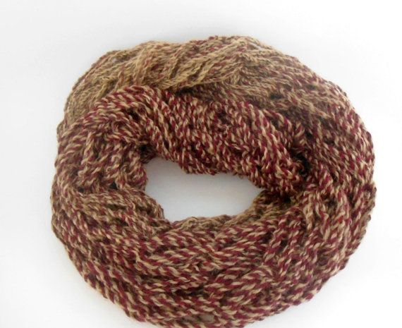 Arm Knit Scarf  Brown Red Scarf  Chunky Cowl  Arm by CRAZYBOOM