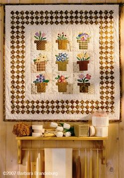 .Cute Quilts, Sewing Quilt, Cabbages Rose, Beautiful Quilts, Wool Applique, Flower Baskets, Cabbage Roses, Flower Pots, Flower Quilts