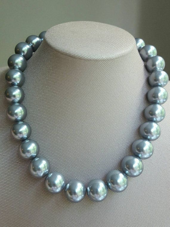 Check out this item in my Etsy shop https://www.etsy.com/ca/listing/477327223/chunky-grey-pearl-statement-necklace2017