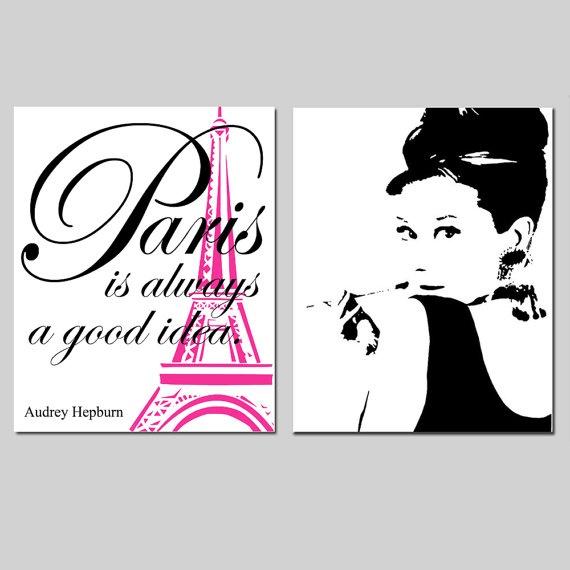 Set of Two 11x14 Prints - Audrey In Paris Collection - Audrey Hepburn Silhouette, Paris Is Always A Good Idea Quote - Choose Your Colors