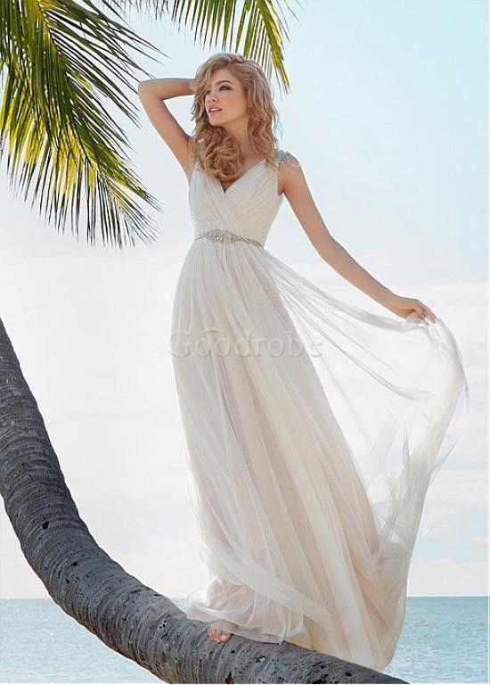 Robe de mariée sans manches traine naturel plage haute couture - photo 3