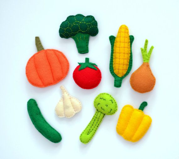 Felt Vegetables Magnets - 9 items collection - part 2 , stuffed felt , fridge magnets