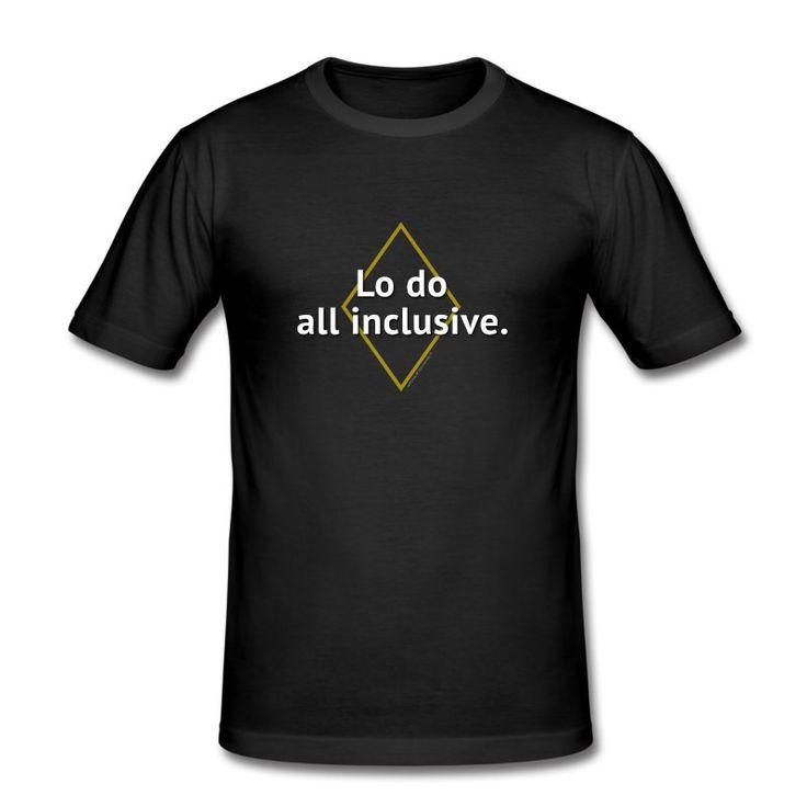 Maglietta aderente da uomo LO DO ALL INCLUSIVE  #magliette #umorismo #moda #estate #2016 #maglietta #sexy #facile #ridere #redalo #idee
