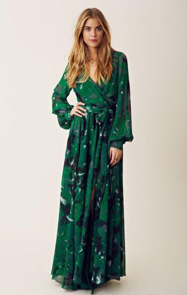 70s fashion dresses | Blu Moon 70s Style Maxi Dress in Green (blue/green) - Lyst