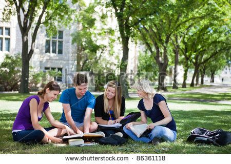 College students studying together in campus ground - stock photo