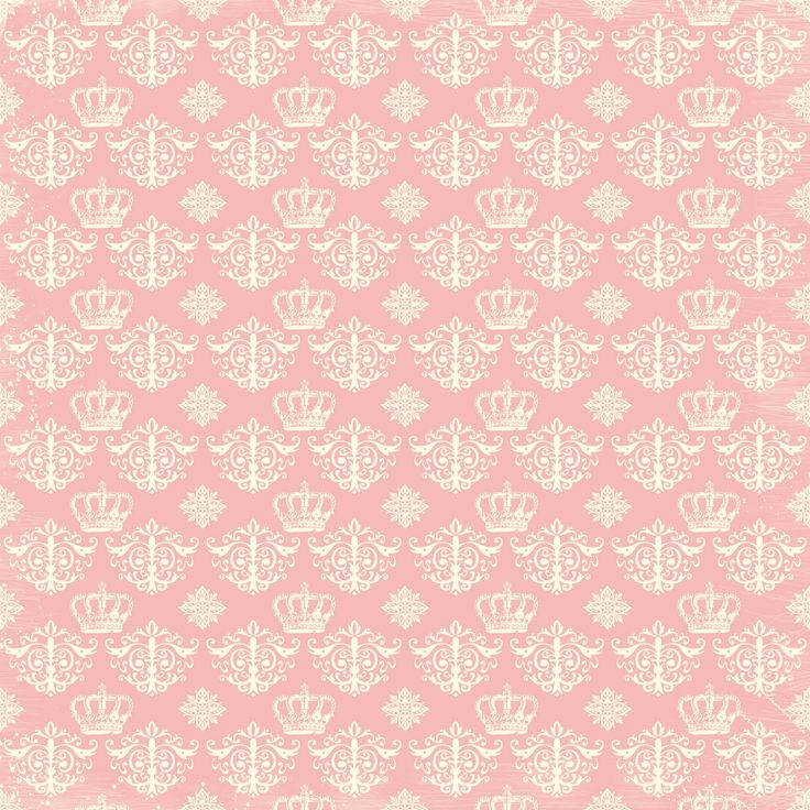 Cream crowns and damasks on pink background.