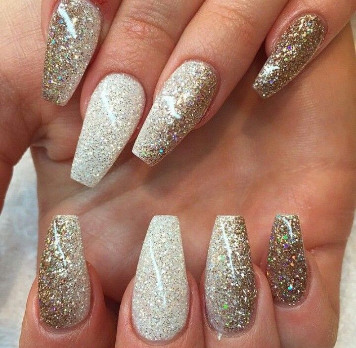 Glitter Squoval Acrylic Nails