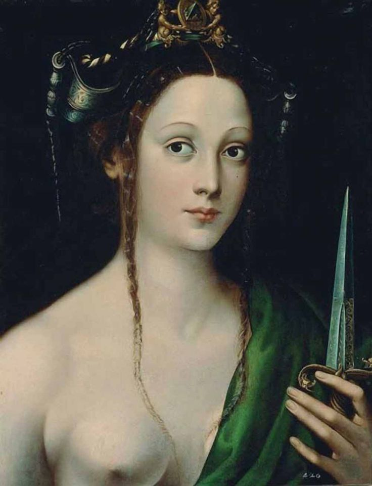 """""""LUCRETIA""""  by Jacopino del Conte (1510-98), an Italian Mannerist painter, active in both Rome and Florence.  Lucretia (died c. 510 BC)  is a semi-legendary figure in the history of the Roman Republic. According to the story,  she was raped by the son of Etruscan king Tarquinius.  After the rape, she urged her husband to avenge her, before committing suicide by stabbing herself.  The incident sparked a revolution that led to the overthrew of the monarchy and establishment of the Roman…"""