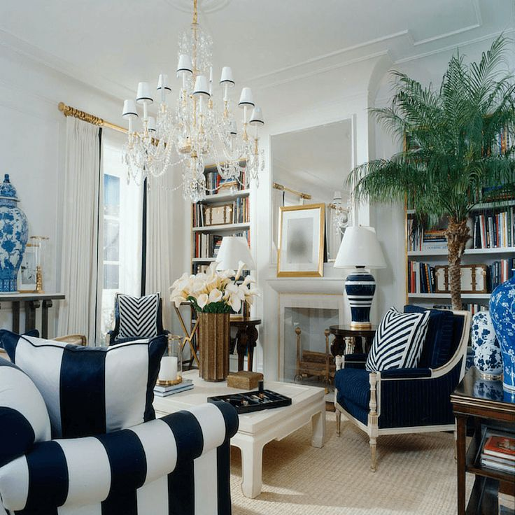 Will An All Blue and White Home Look Weird? - laurel home | beautiful blue and white Ralph Lauren living room