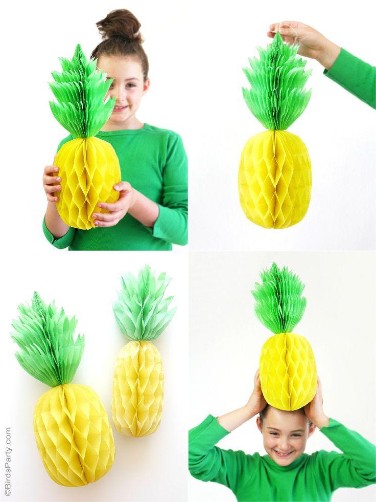 DIY Pineapple Honeycomb Party Decorations - BirdsParty.com
