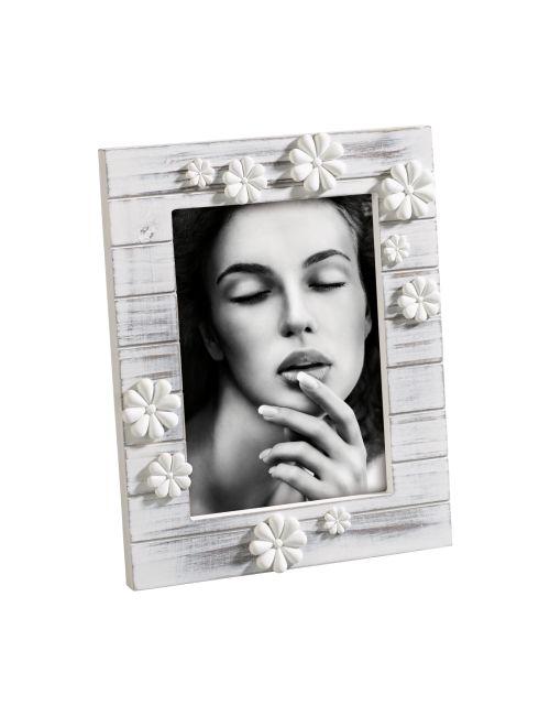 PORTAFOTO IN LEGNO A285   Portafoto in legno decapato con fiori in resina. Felix Design.