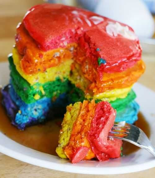 Rainbow Pancakes. OH MY GOODNESS =DIdeas, Pancakes Recipe, Food Colors, For Kids, Birthday Breakfast, Food Coloring, Rainbows Cake, Rainbows Pancakes, Birthday Morning