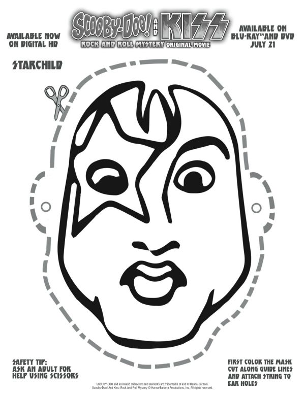 kiss band coloring pages - free printable scooby doo kiss starchild mask craft