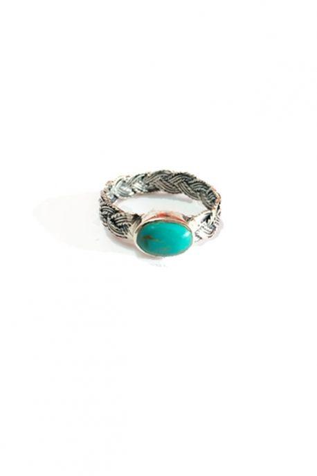 Bague tressée argent et pierre turquoise