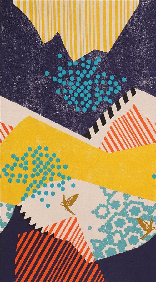 Tissu par Etsuko Furuya avec des petits oiseaux et un motif abstrait jaune et bleu marine de montagnes