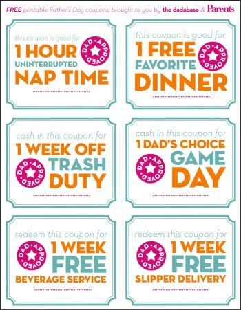 Father's Day printable coupons: Dads Approv, Printable Father Day Coupon, Gifts Ideas, Father Day Printable Coupon, Father Day Gifts, Father'S Day, Fathers Day, Free Printable, Printable Coupons