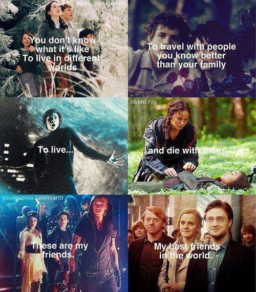 Narnia, Lord of the Rings, Percy Jackson, The Hunger Games, The Mortal Instruments, and Harry Potter...  My best friends