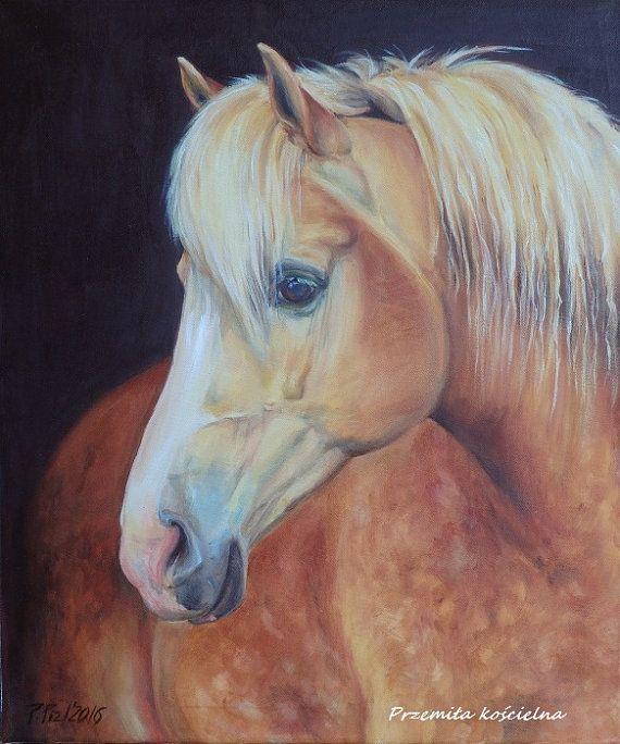 Palomino HORSE portrait Original OIL PAINTING on by CanisArtStudio