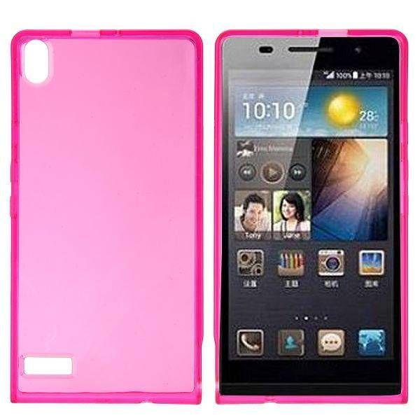 Roze / transparant TPU hoesje voor Huawei Ascend P6