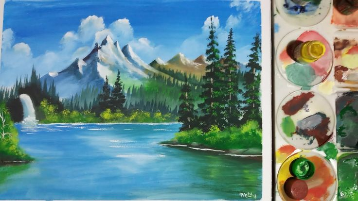 How To Paint A Simple Landscape With Poster Colour Natural Scenery Painting Youtube Poster Color Painting Scenery Paintings Watercolor Art Landscape