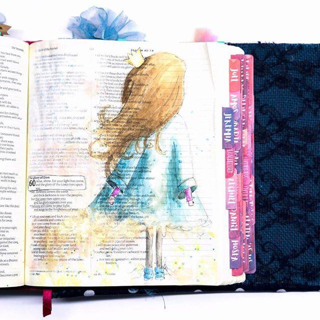 Arise, and shine my love, my beautiful daughter!  _____________________ .  #art #ikmetliefde #finished #aquarelle #aquarel #windsorandnewton #pencil #posca #biblejournaling #biblejournalingnl #bibleart #kleurjebijbel #gold #blue #riseandshine